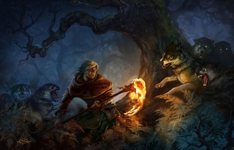 1600x1028_8968_Pack_Attack_2d_illustration_animals_woods_night_torch_wolves_fantasy_battle_picture_image_digital_art